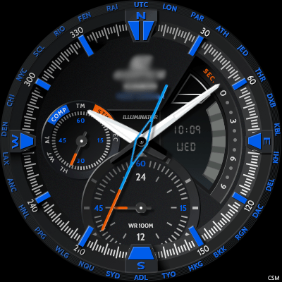 Casio EDIFICE - ERA300DB BLUE Android Watch Face