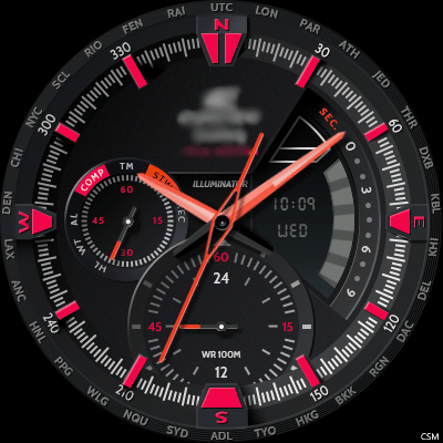 Casio EDIFICE - ERA300DB RED Battery Android Watch Face