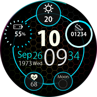 Clock Skin RR0081 Blue V2 Android Watch Face