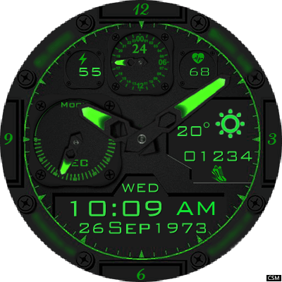 Clock Skin RR022 (Green) Android Watch Face