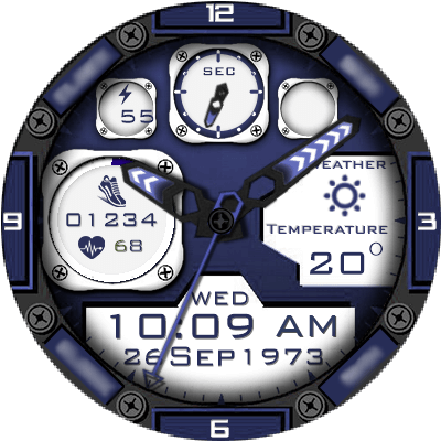 Clock Skin RR022 Blue Android Watch Face