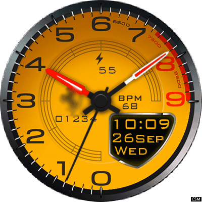Clock Skin RR024 (Ferrari) Android Watch Face
