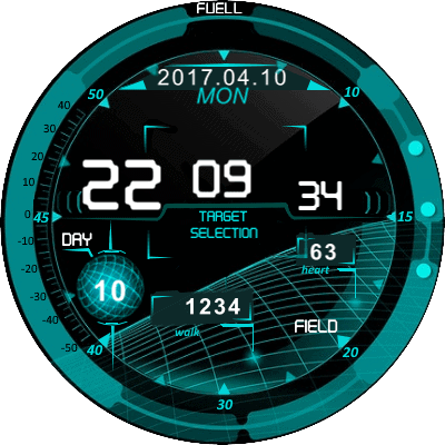 Fighterplane interface v.Eng Android Watch Face