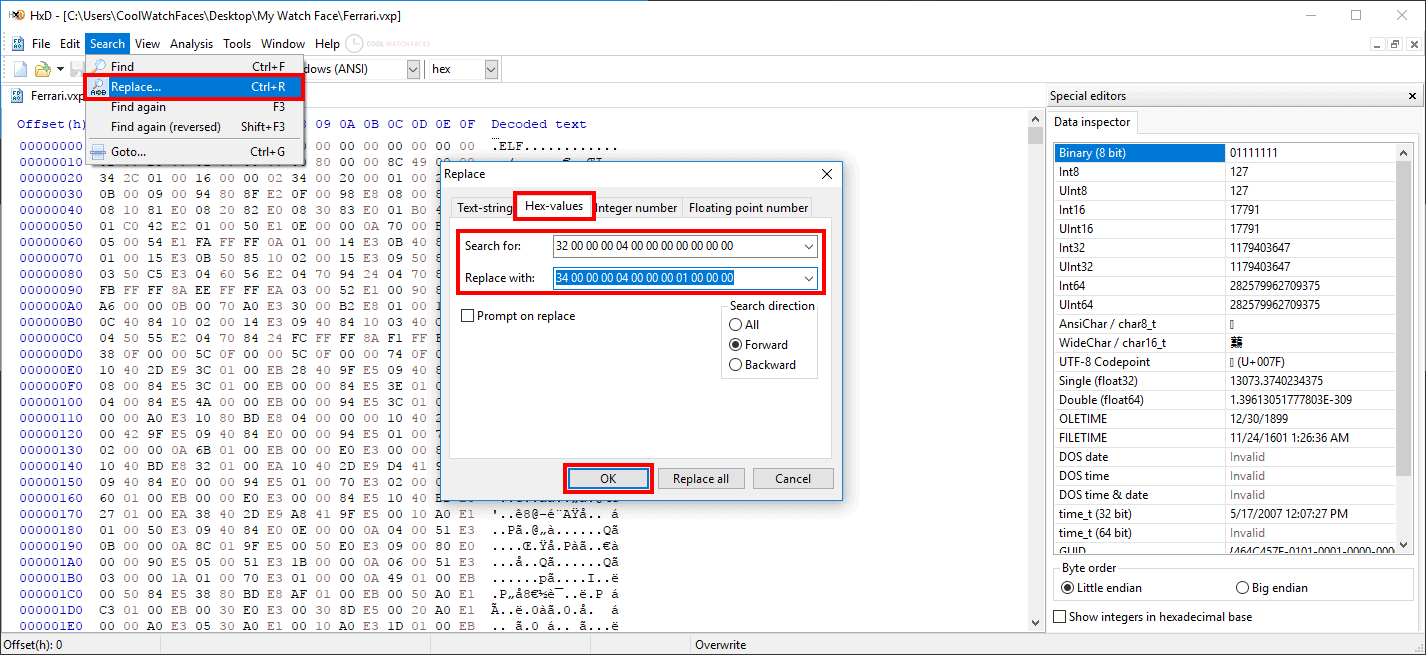 HxD Hex Editor - Search Replace option