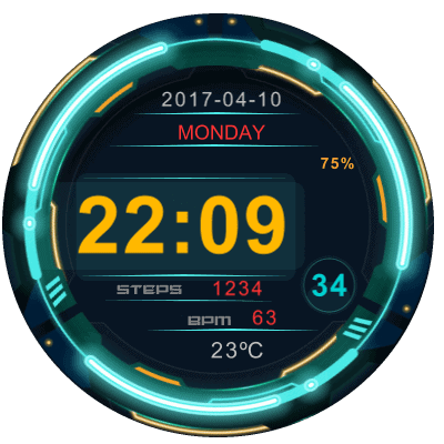 R3 NEON Android Watch Face