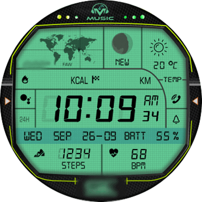 X3 green Android Watch Face